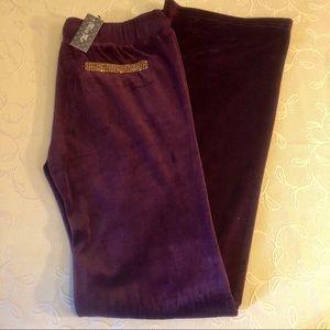 Miss Me Pants & Jumpsuits - Miss Me Burgundy Velour Lounge Pants